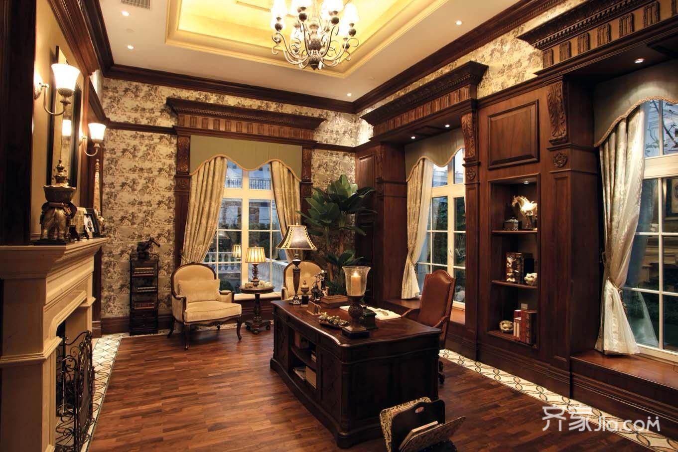 美式豪华别墅装修书房效果图