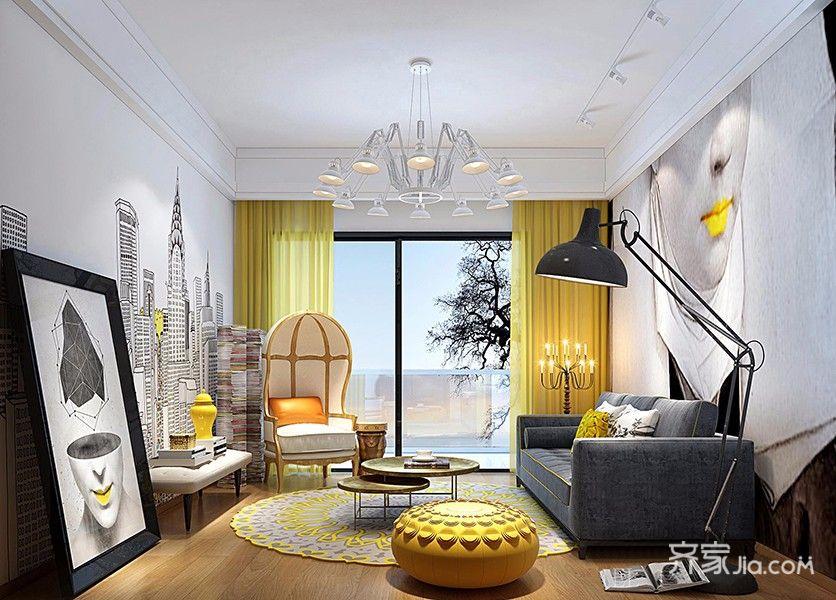 一居室简约风格客厅装修效果图