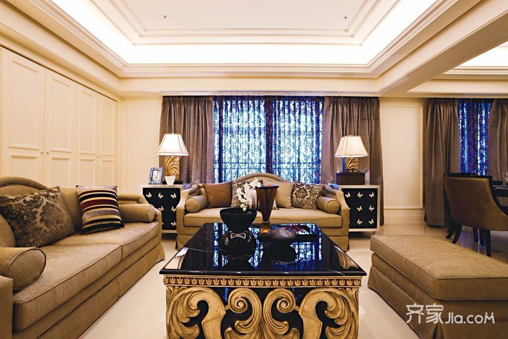 欧式古典风格三居客厅装修效果图