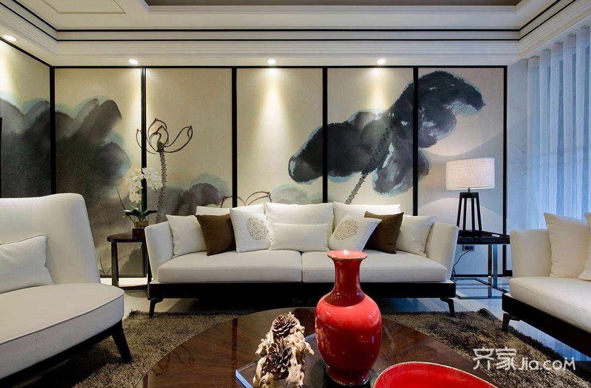 三居室新中式沙发背景墙装修效果图