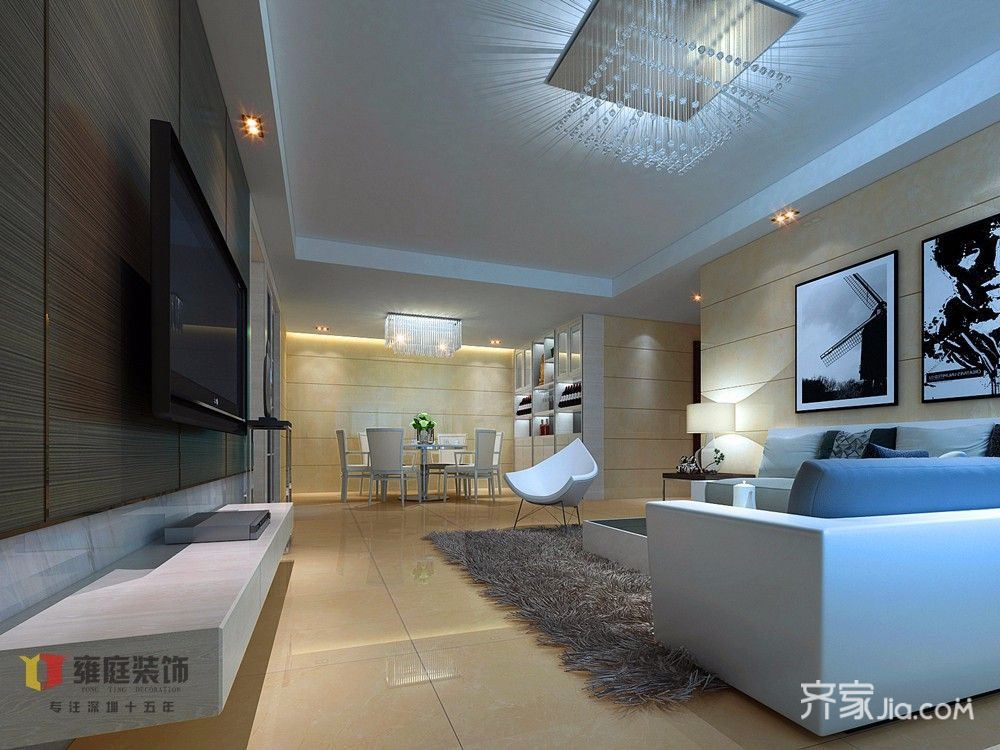 现代简约风格客厅吊顶装修效果图