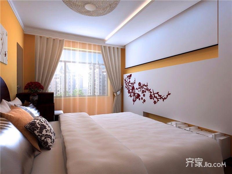 78平混搭风格二居装修卧室影视墙设计图