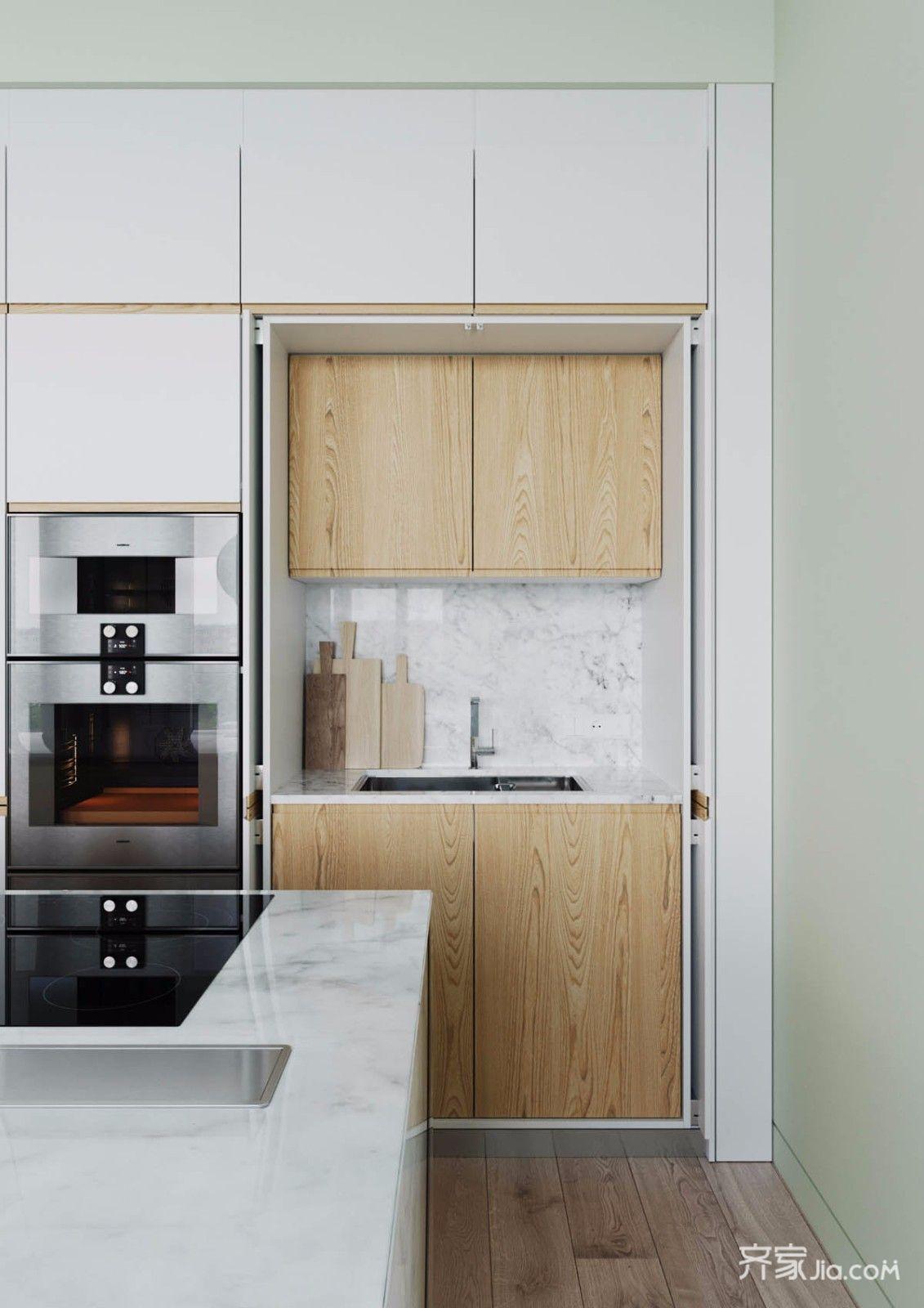 120平简欧风格三居装修厨房设计图