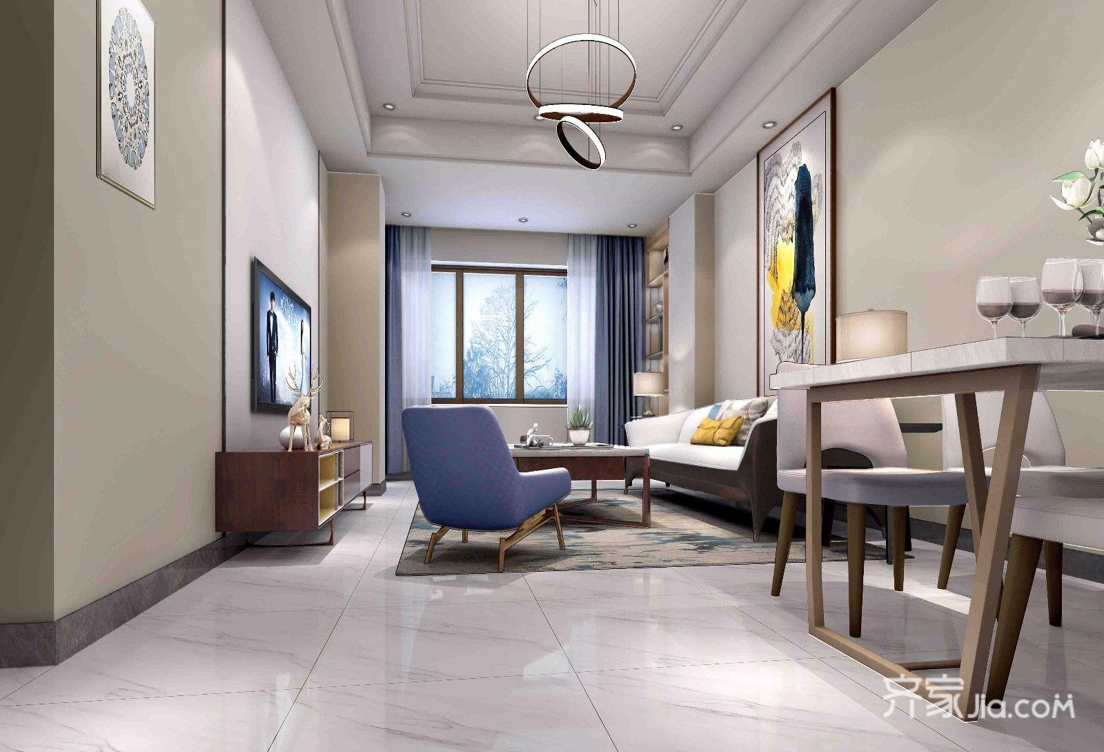 现代简约风格二居客厅效果图