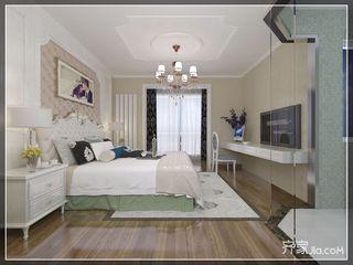 现代欧式风格四房装修床头软包设计效果图
