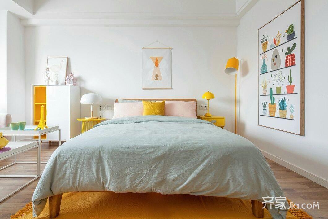 一居室小户型北欧风装修卧室背景墙图片