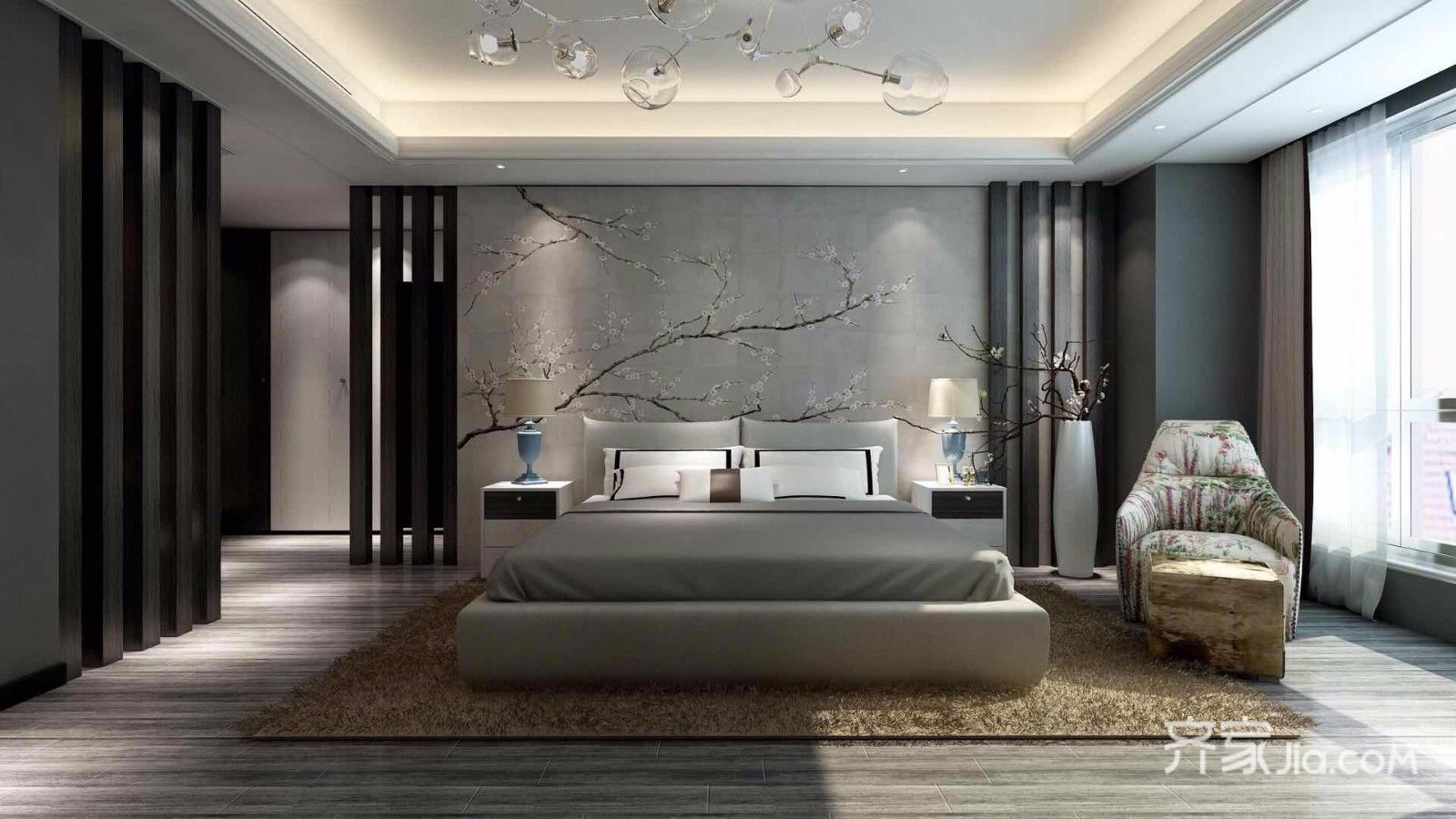 90㎡中式风格三居装修床头背景墙设计效果图