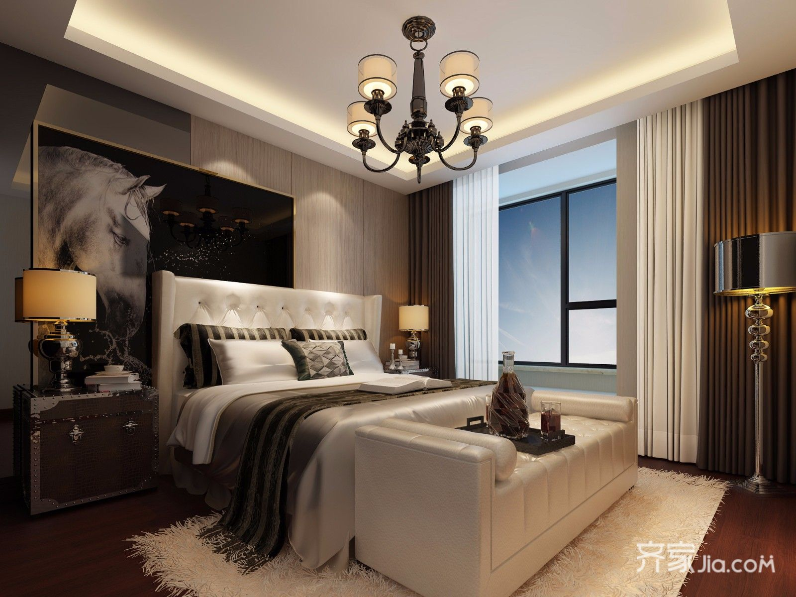现代风格四房装修卧室背景墙效果图