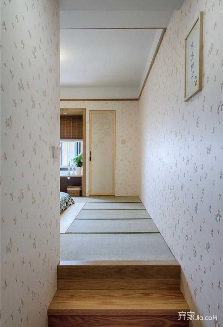 90㎡新中式三居装修榻榻米卧室设计图