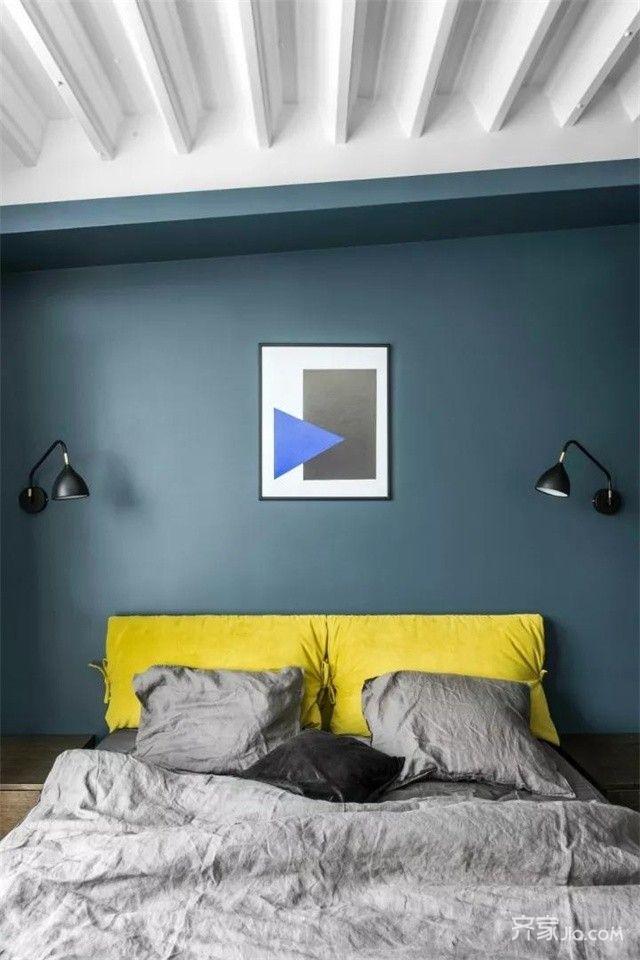 简约风复式公寓装修卧室背景墙图片