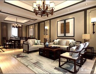 120平中式风格三居装修沙发背景墙效果图