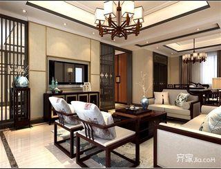 120平中式风格三居装修电视背景墙效果图
