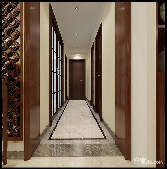 120平三居中式风格装修过道效果图