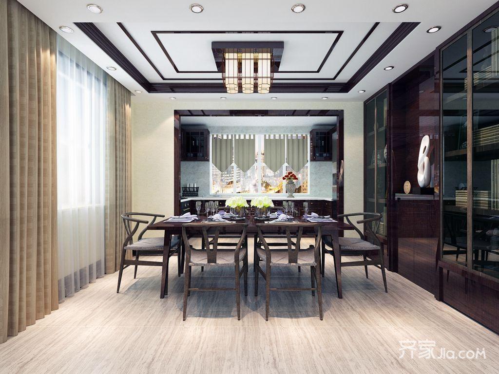 135平新中式风格餐厅装修效果图