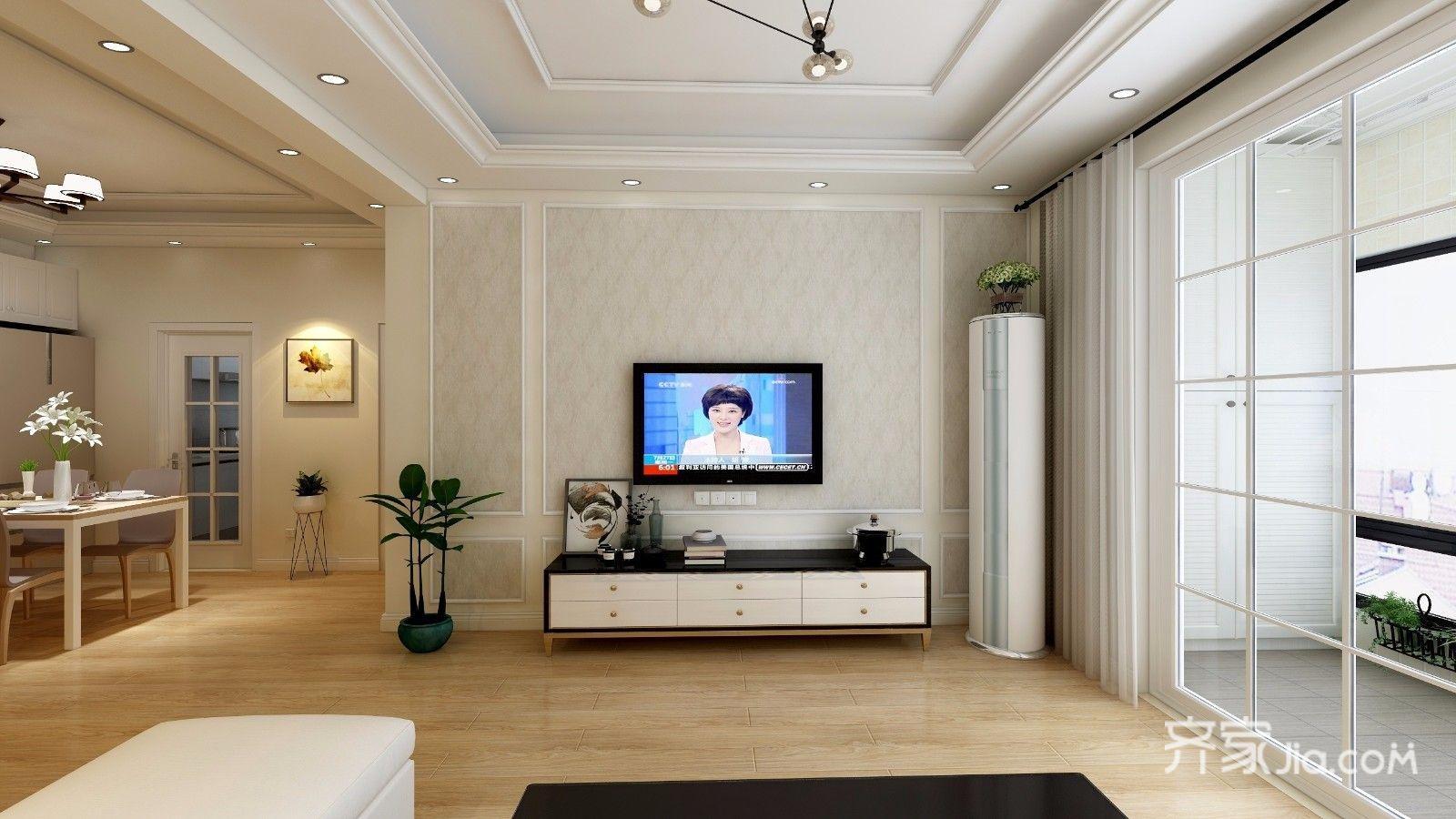 93平简约风格三居装修电视背景墙效果图