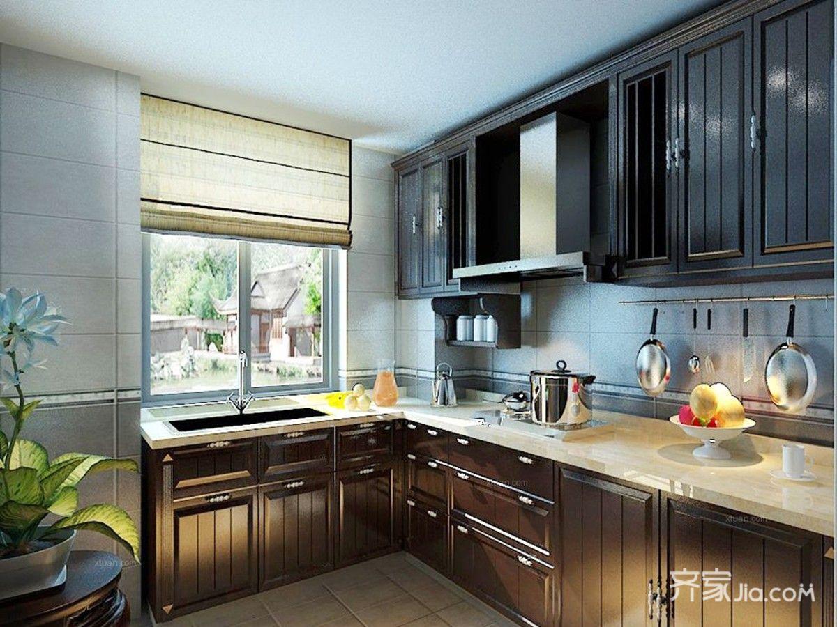 110平现代简约三居厨房装修效果图
