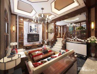 复式新中式两居客厅装修效果图
