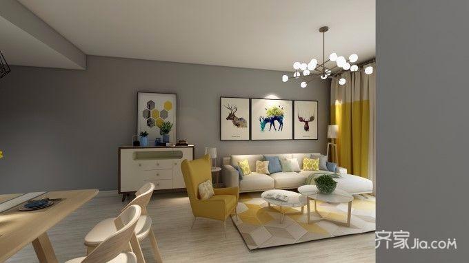 北欧宜家风格两居客厅装修效果图