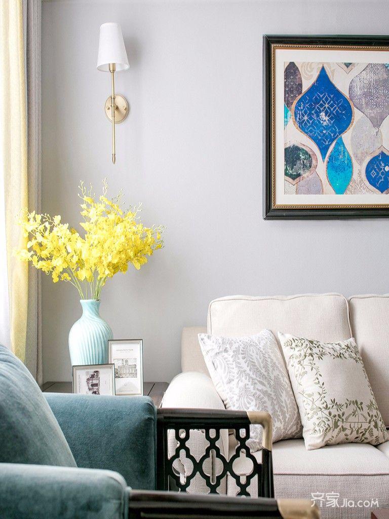 110㎡美式三居设计沙发背景墙图片