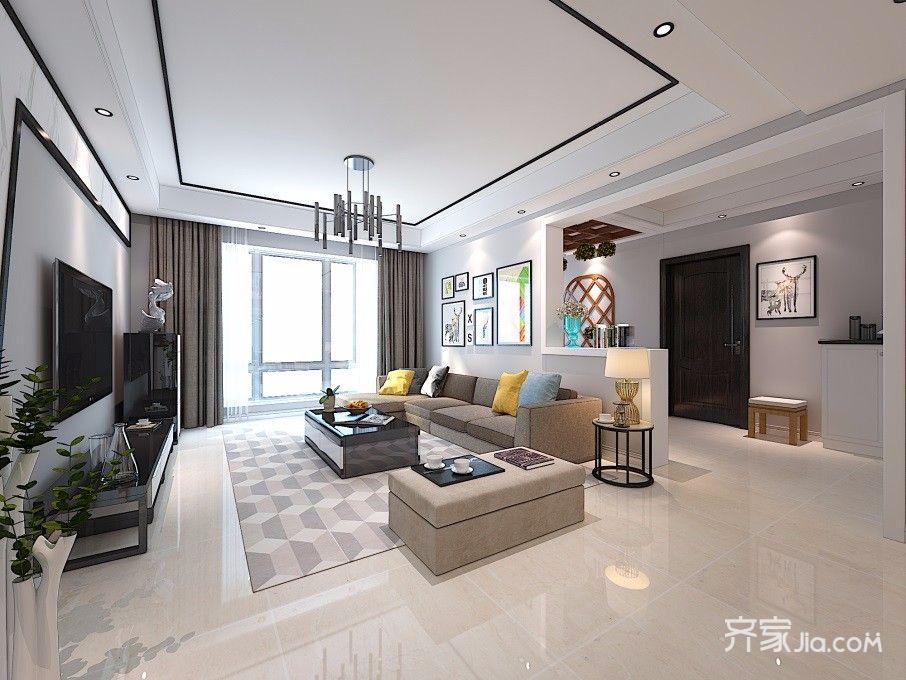 130平简约风格三居装修客厅吊顶效果图