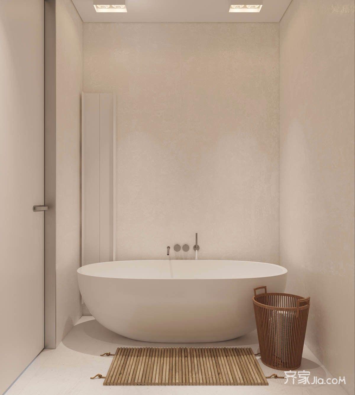 小户型极简风格装修浴缸设计图