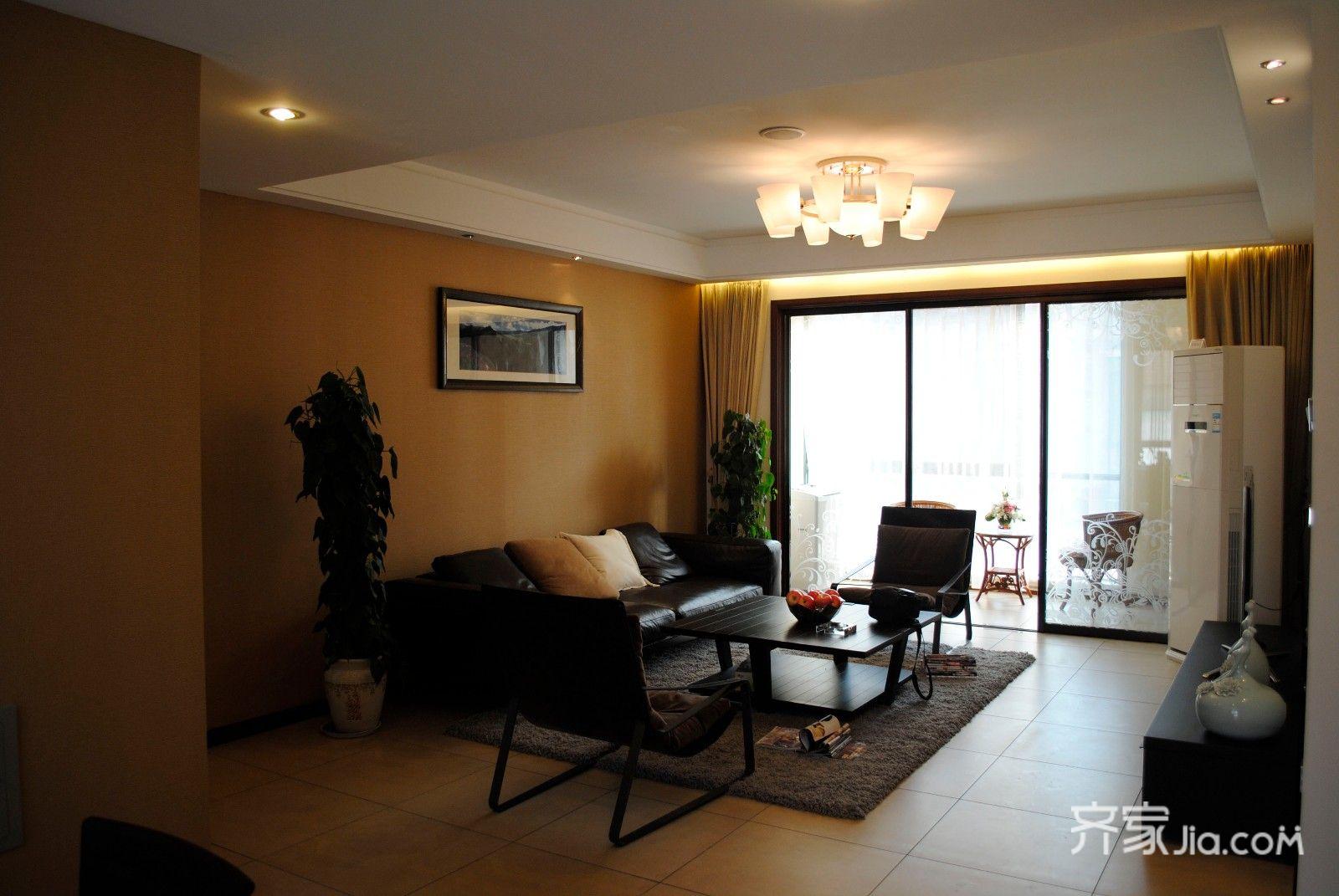 现代简约风格三居装修客厅实景图