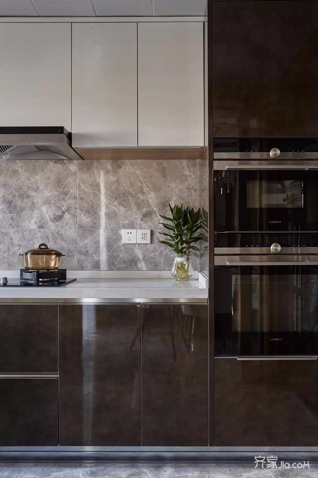 三居室新中式风格装修厨房一角