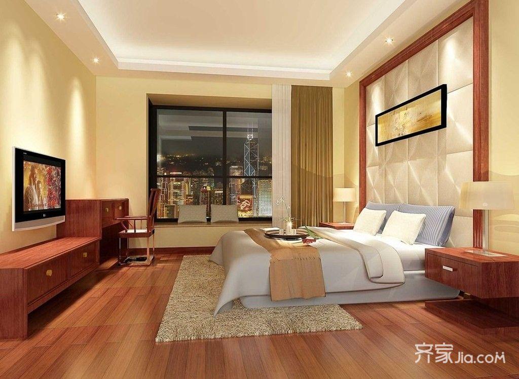 128平简约中式风卧室装修效果图