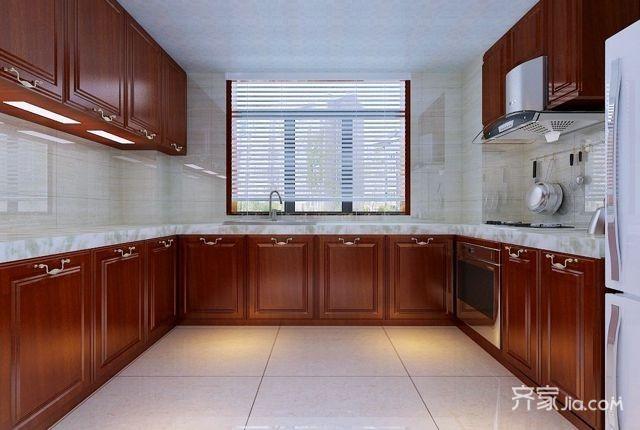 128平简约中式风厨房装修效果图