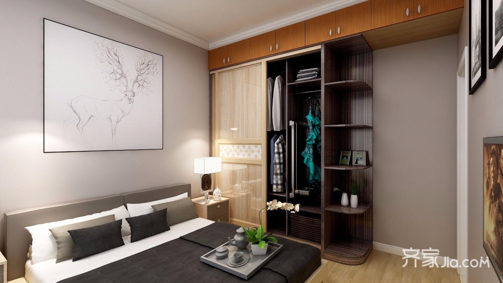 三居室简约风装修卧室设计效果图