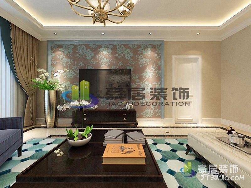 118平米美式三居装修电视背景墙设计图