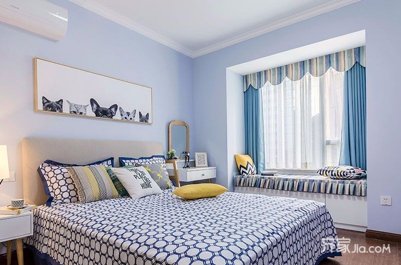 两居室美式风格家卧室布置图