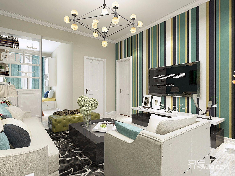 86平现代简约风格客厅装修效果图