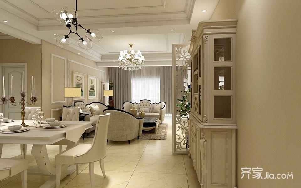 两居室简欧风格装修吊顶设计效果图