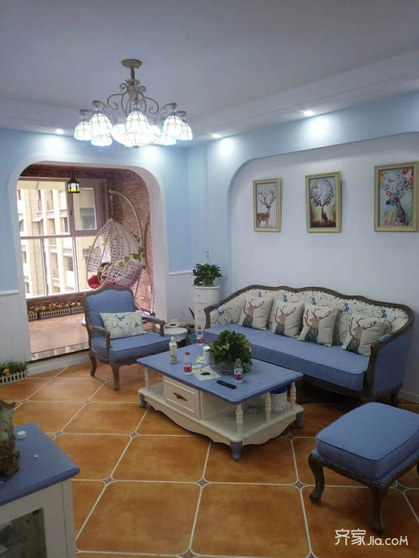 120㎡地中海风格客厅装修效果图