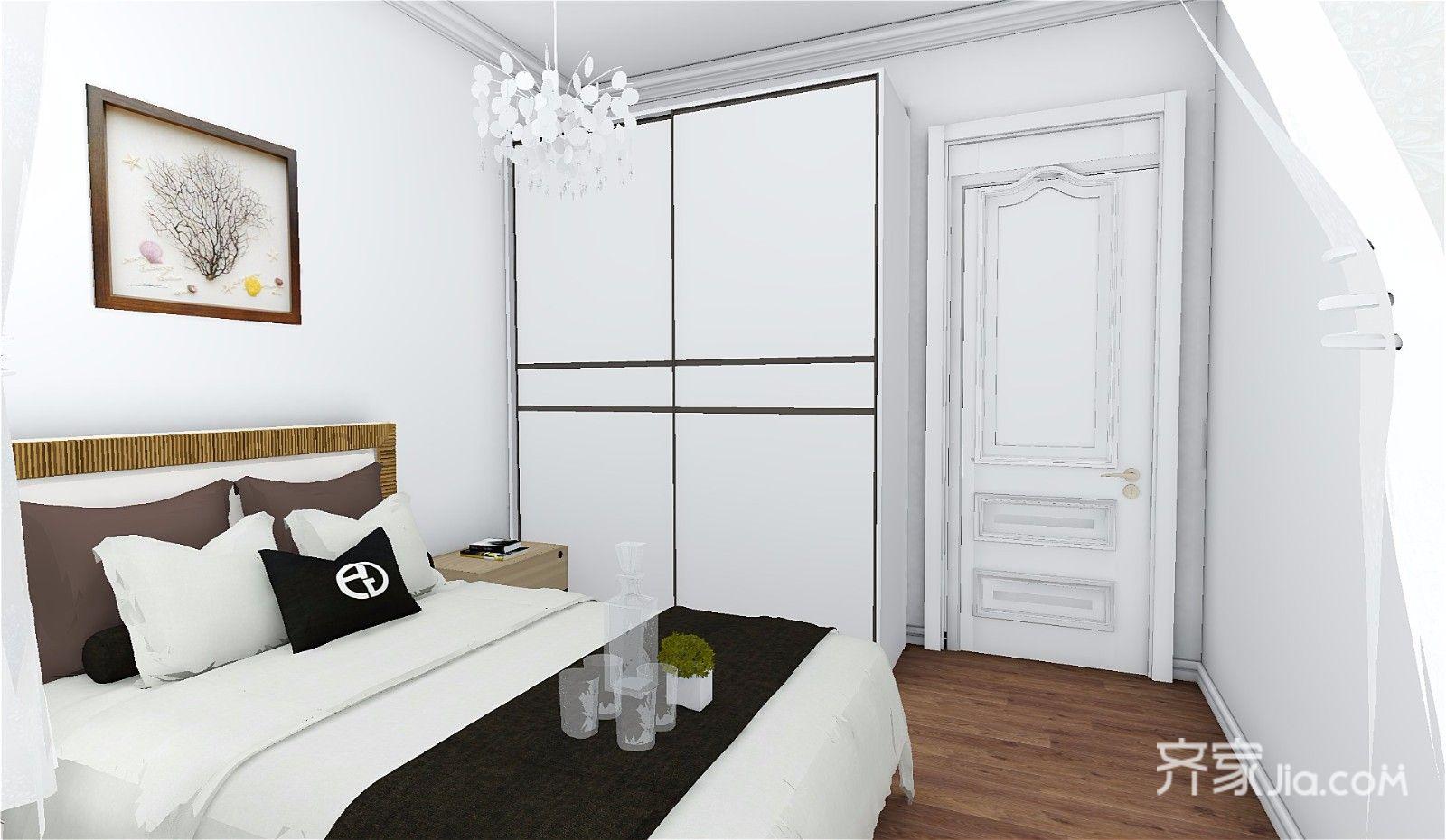 73平简约三居室装修床品设计图