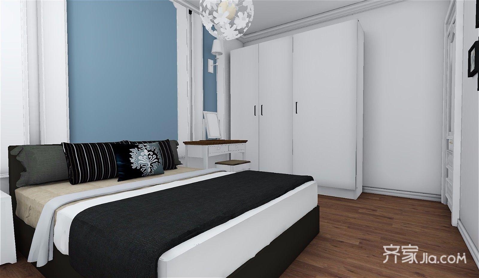 73平简约三居室装修床头背景墙设计效果图