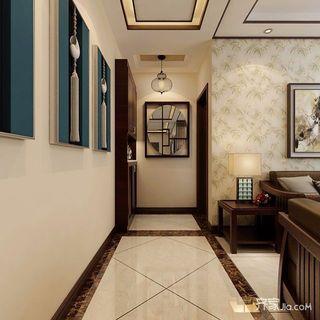三居室新中式装修客厅过道