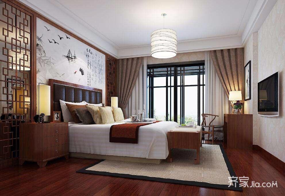 178㎡中式装修卧室效果图