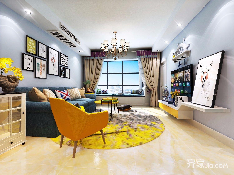 二居室混搭装修客厅效果图