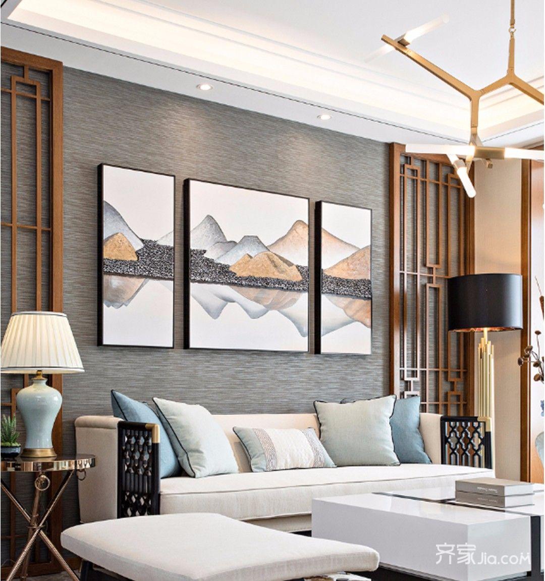 90平中式风格家沙发背景墙