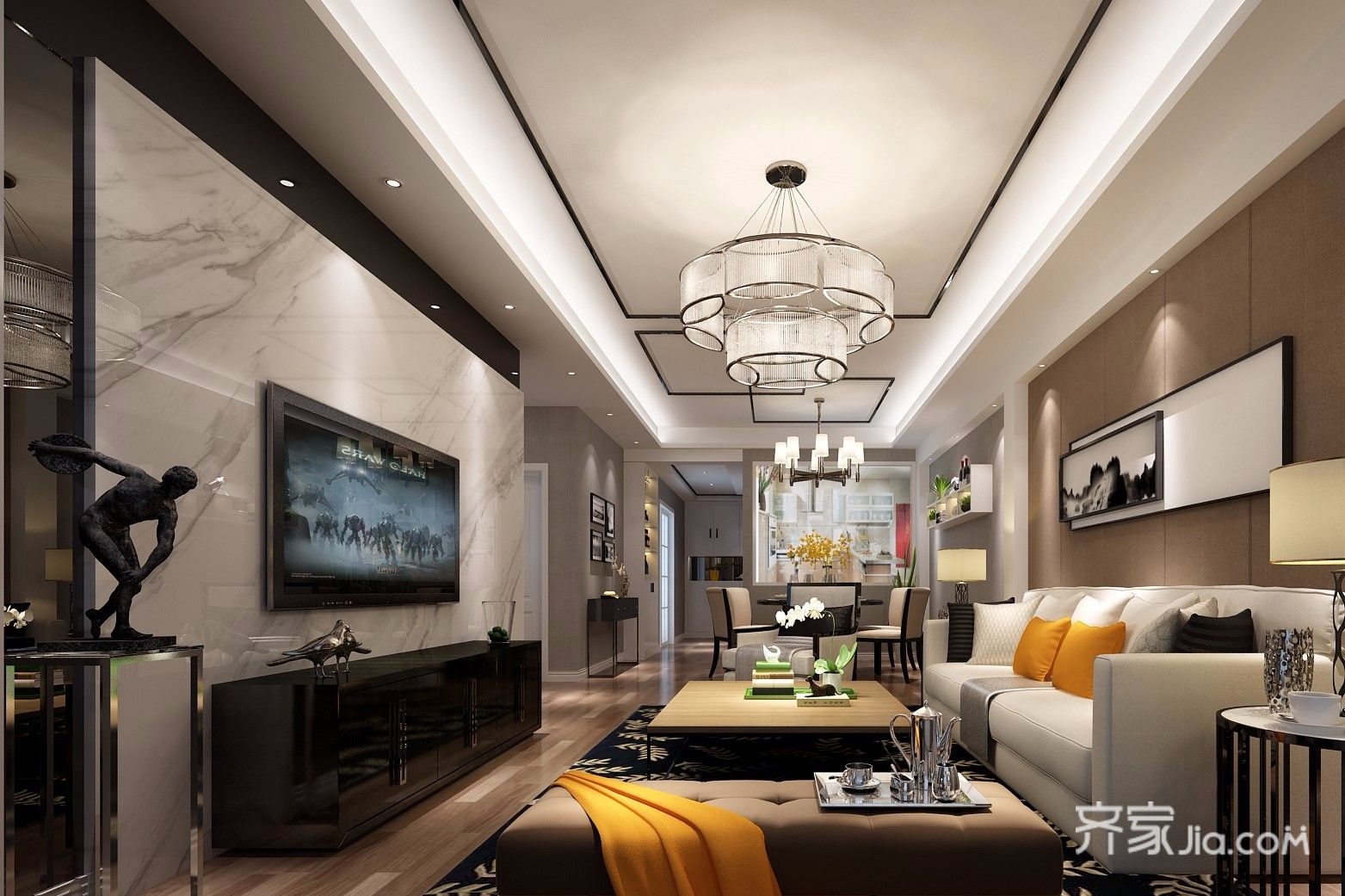 新中式二居室装修客厅效果图
