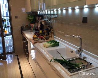 160㎡美式风格装修厨房实景图