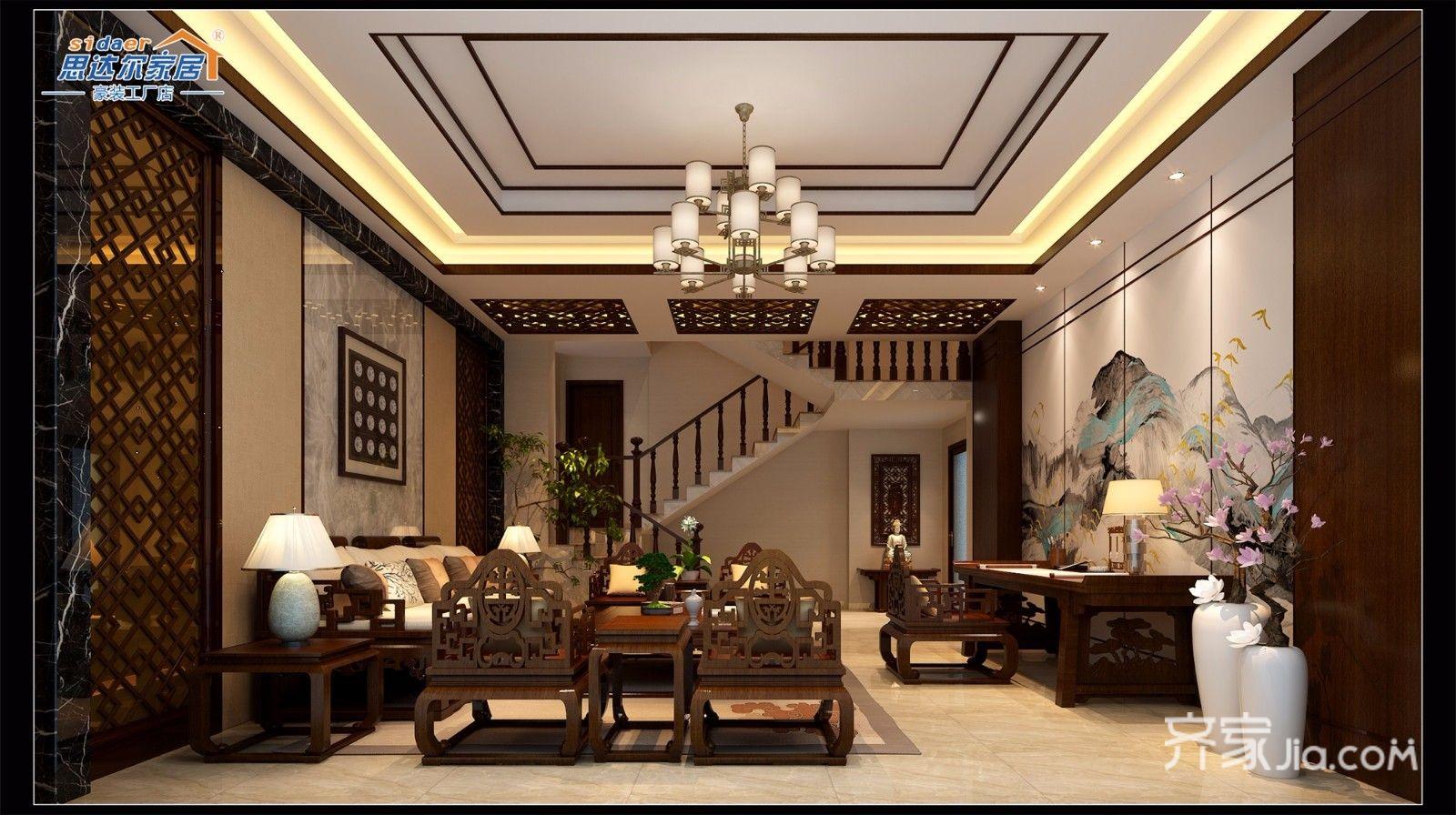 复式混搭装修一楼客厅效果图