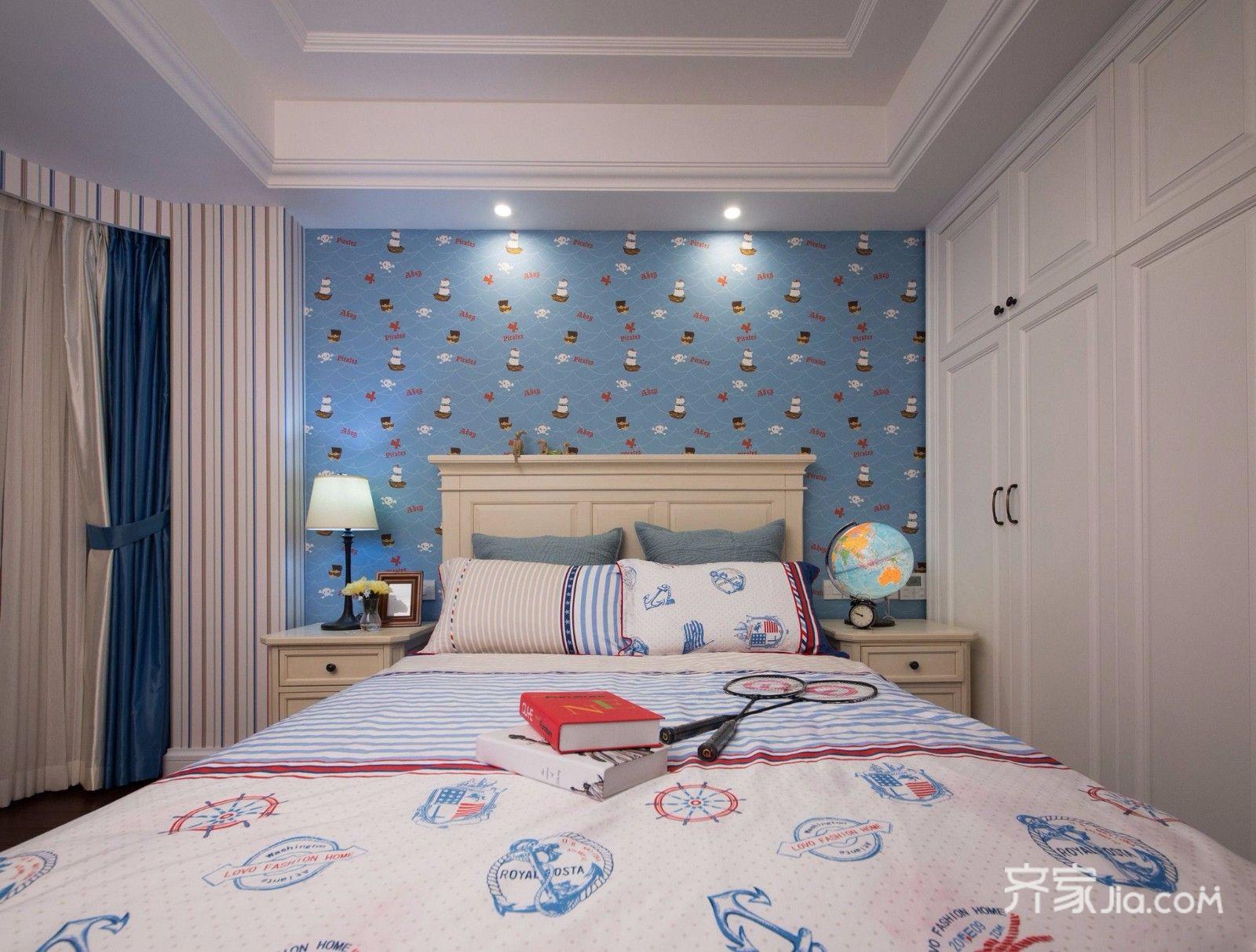 二居室温馨美式装修卧室背景墙