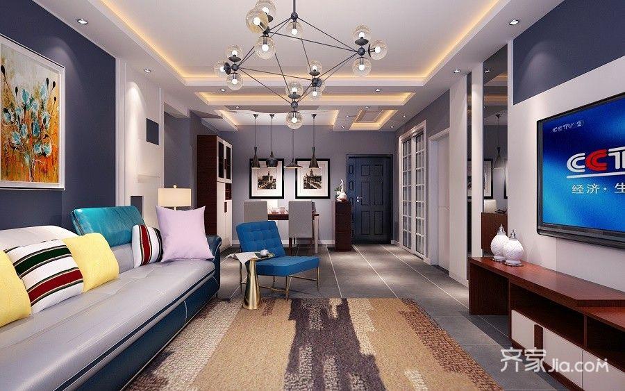 140平现代简约风格装修客厅效果图