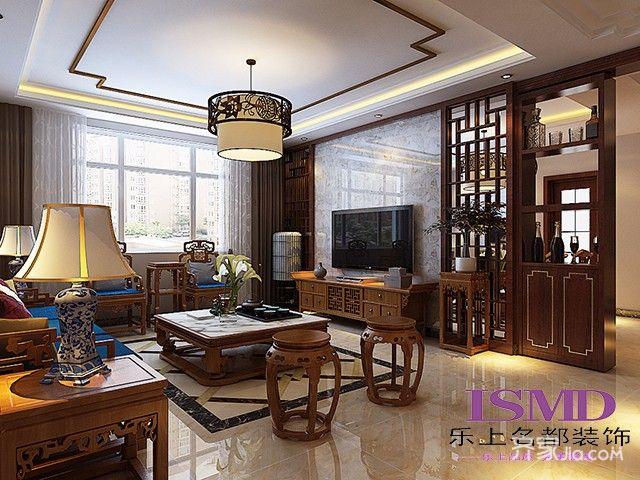 三居室中式风格装修客厅装潢图