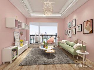 少女心满溢的粉色简约家客厅效果图