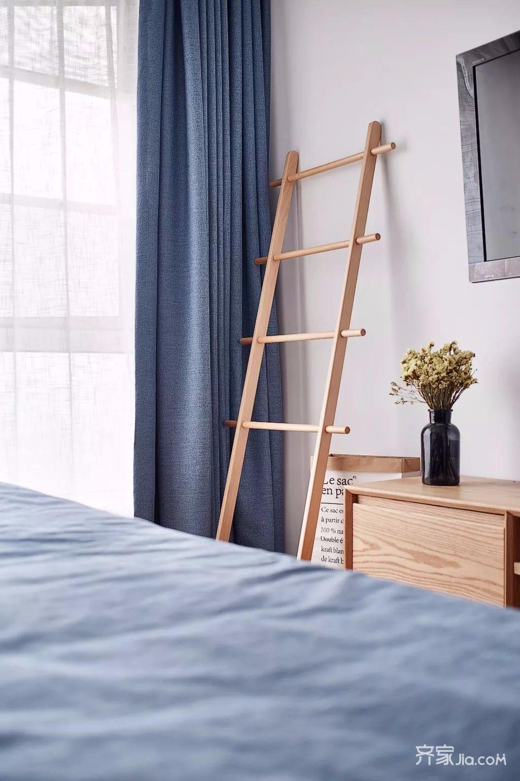 二居室北欧风格家卧室窗帘图片