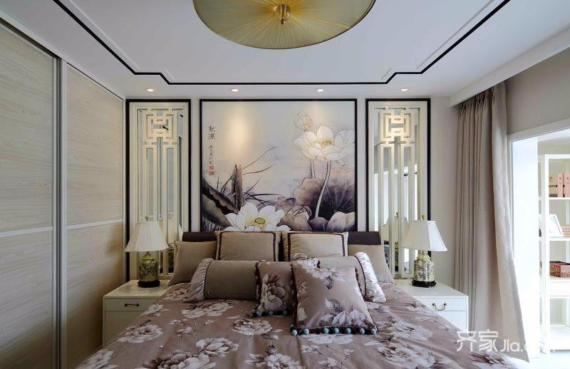 140㎡中式简约家卧室效果图